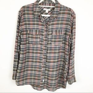 Melrose and Market Flannel Button Down Shirt